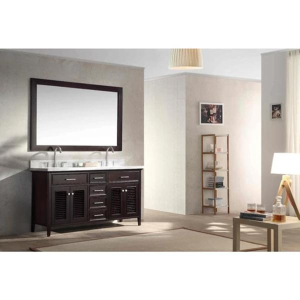 "Ariel Kensington 61"" Espresso Traditional Double Sink Bathroom Vanity D061D-ESP"