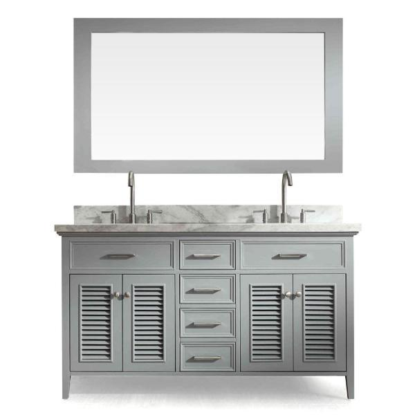 "Ariel Kensington 61"" Grey Traditional Double Sink Bathroom Vanity D061D-GRY"