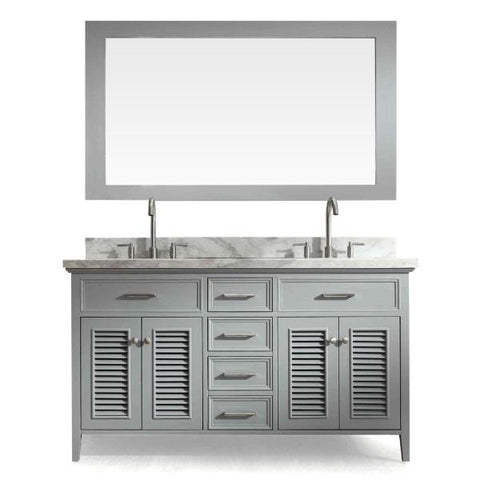 "Image of Ariel Kensington 61"" Grey Traditional Double Sink Bathroom Vanity D061D-GRY"