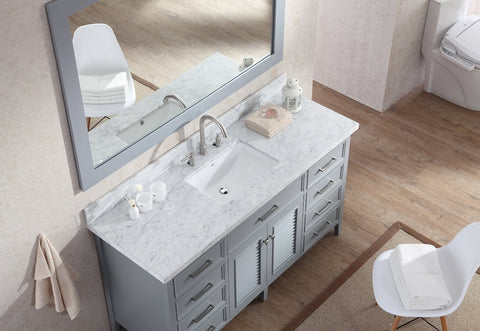 "Image of Ariel Kensington 61"" Single Sink Vanity Set in Grey D061S-GRY"