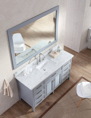 "Ariel Kensington 61"" Single Sink Vanity Set in Grey D061S-GRY"