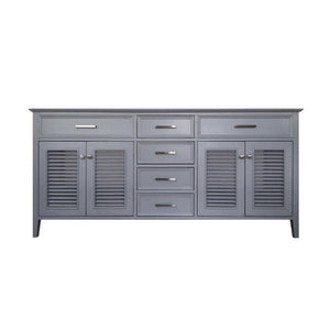 "Ariel Kensington 72"" Grey Transitional Double Sink Base Cabinet D073D-2-BC-GRY D073D-2-BC-GRY"