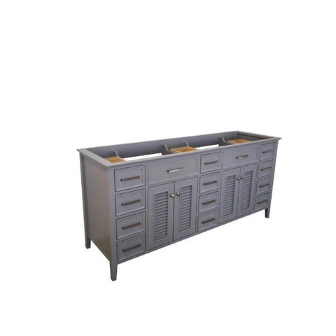 "Ariel Kensington 72"" Grey Transitional Double Sink Base Cabinet D073D-BC-GRY D073D-BC-GRY"