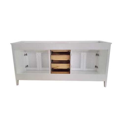 "Ariel Kensington 72"" White Transitional Double Sink Base Cabinet D073D-2-BC-WHT D073D-2-BC-WHT"