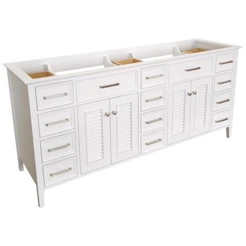 "Ariel Kensington 72"" White Transitional Double Sink Base Cabinet D073D-BC-WHT D073D-BC-GRY"