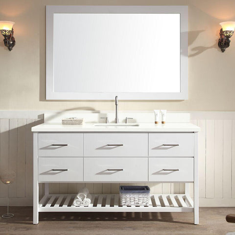 "Ariel Shakespeare 61"" Single Sink Vanity Set in White G061S-WHT"
