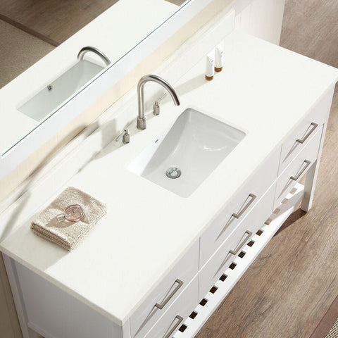"Image of Ariel Shakespeare 61"" Single Sink Vanity Set in White G061S-WHT"
