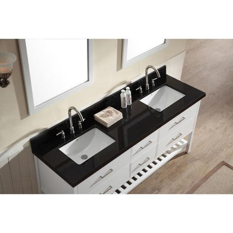 "Ariel Shakespeare 73"" White Transitional Double Sink Bathroom Vanity G073D-AB-WHT G061S-WQ-GRY"