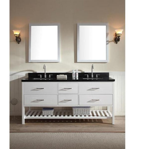 "Ariel Shakespeare 73"" White Transitional Double Sink Bathroom Vanity G073D-AB-WHT G073D-AB-WHT"