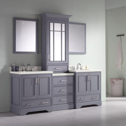 "Ariel Stafford 85"" Grey Contemporary Double Sink Bathroom Vanity M085D-GRY M085D-GRY"
