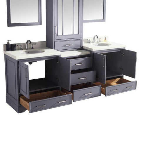 "Ariel Stafford 85"" Grey Transitional Double Sink Bathroom Vanity M085D-GRY G073D-AB-WHT"