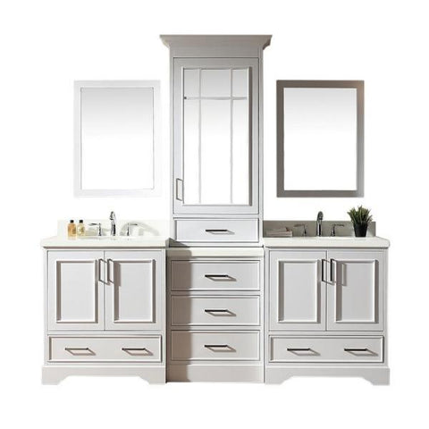 "Ariel Stafford 85"" White Contemporary Double Sink Bathroom Vanity M085D-WHT M085D-GRY"