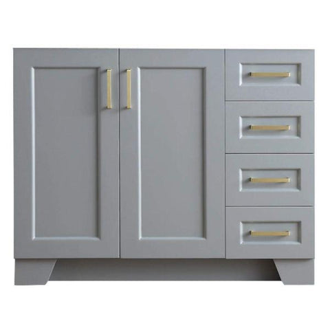 "Ariel Taylor 42"" Grey Transitional Single Sink Base Cabinet Q043S-L-BC-GRY"