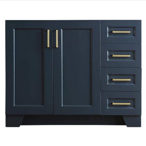 "Ariel Taylor 42"" Midnight Blue Transitional Single Sink Base Cabinet Q043S-L-BC-MNB"