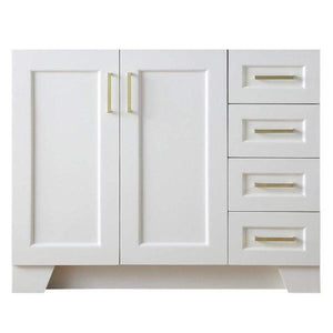 "Ariel Taylor 42"" White Transitional Single Sink Base Cabinet Q043S-L-BC-WHT"
