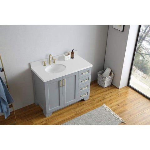 "Image of Ariel Taylor 43"" Grey Modern Oval Sink Bathroom Vanity Q43SLB-WQO-GRY"