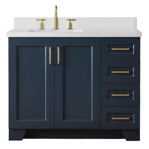 "Ariel Taylor 43"" Midnight Blue Modern Rectangle Sink Bathroom Vanity Q43SLB-WQR-MNB"
