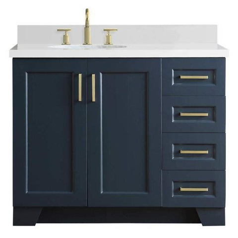 "Ariel Taylor 43"" Midnight Blue Modern Single Sink Bathroom Vanity Q43SLB-WQO-MNB"