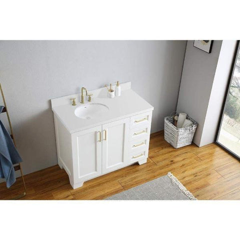 "Image of Ariel Taylor 43"" White Modern Oval Sink Bathroom Vanity Q43SLB-WQO-WHT"