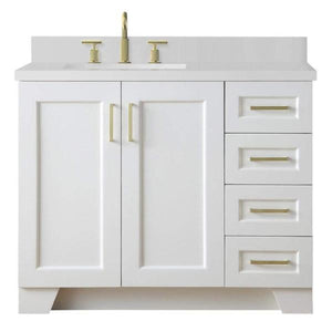 "Ariel Taylor 43"" White Modern Rectangle Sink Bathroom Vanity Q43SLB-WQR-WHT"