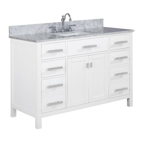 "Image of Design Element Valentino 48"" White Single Rectangular Sink Vanity V01-48-WT"