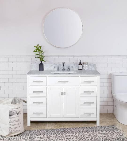 "Design Element Valentino 48"" White Single Rectangular Sink Vanity V01-48-WT"