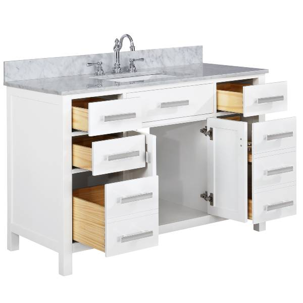 "Design Element Valentino 54"" White Single Rectangular Sink Vanity V01-54-WT"