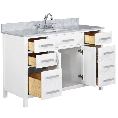 "Image of Design Element Valentino 54"" White Single Rectangular Sink Vanity V01-54-WT"