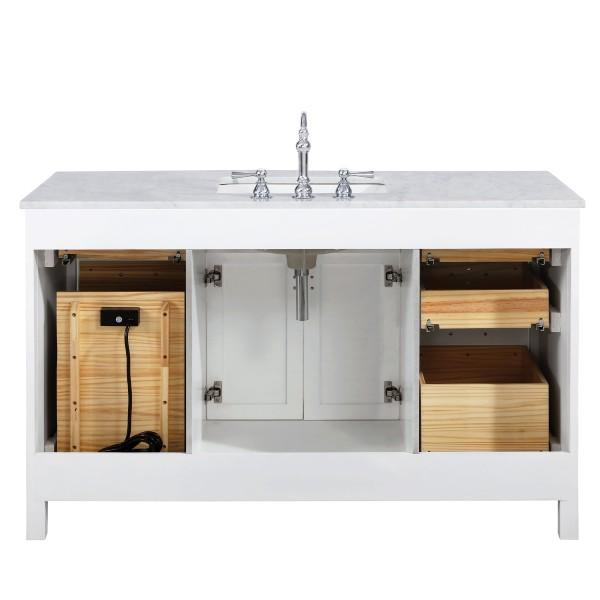 "Design Element Valentino 54"" White Single Rectangular Sink Vanity V01-54-WT V01-54-WT"