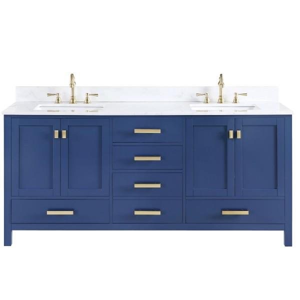 "Design Element Valentino 72"" Blue Double Rectangular Sink Vanity V01-72-BLU"