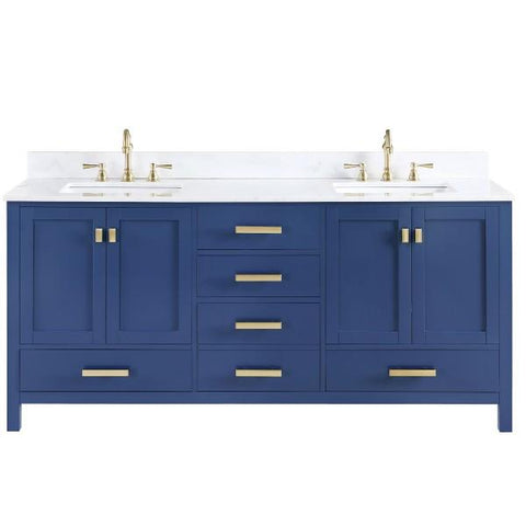 "Image of Design Element Valentino 72"" Blue Double Rectangular Sink Vanity V01-72-BLU"