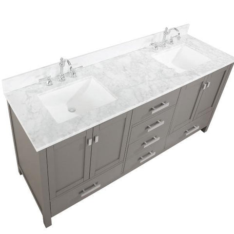"Image of Design Element Valentino 72"" Gray Double Rectangular Sink Vanity V01-72-GY"