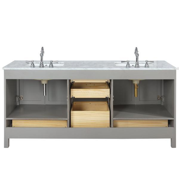 "Design Element Valentino 72"" Gray Double Rectangular Sink Vanity V01-72-GY"