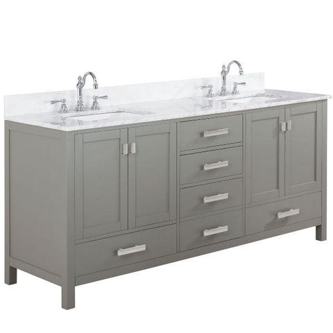 "Image of Design Element Valentino 72"" Gray Double Rectangular Sink Vanity V01-72-GY V01-72-GY"