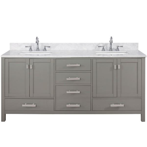 "Design Element Valentino 72"" Gray Double Rectangular Sink Vanity V01-72-GY V01-72-GY"