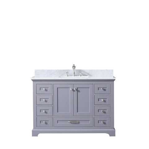 "Dukes 48"" Dark Grey Single Bath Vanity Cabinet Carrara Marble Top Square Sink LD342248SBDS000"