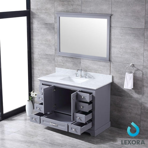 "Dukes 48"" Dark Grey Single Vanity Carrara Marble Top Sink & 46"" Wall Mirror LD342248SBDSM46"