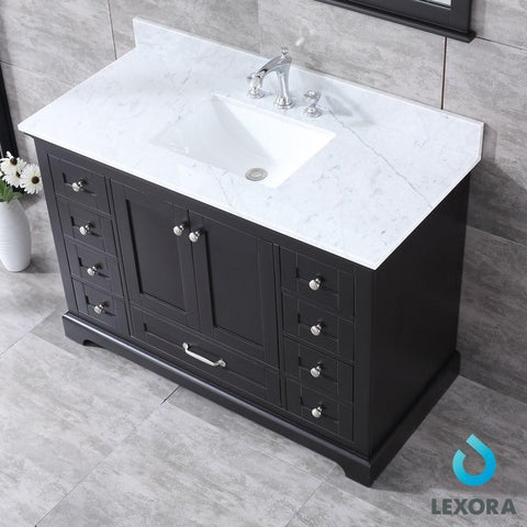 "Image of Dukes 48"" Espresso Single Vanity Carrara Marble Top Sink & 46"" Wall Mirror LD342248SGDSM46"