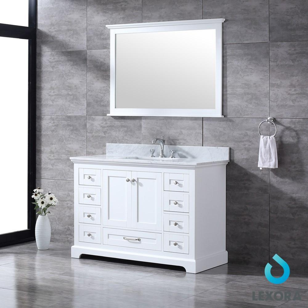 "Dukes 48"" Single Vanity Cabinet Carrara Marble Top Square Sink & 46"" Wall Mirror LD342248SADSM46"