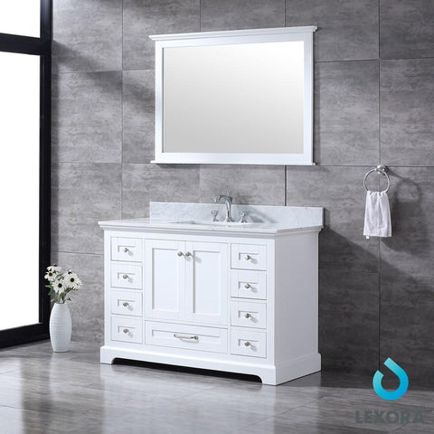 "Image of Dukes 48"" Single Vanity Cabinet Carrara Marble Top Square Sink & 46"" Wall Mirror LD342248SADSM46"