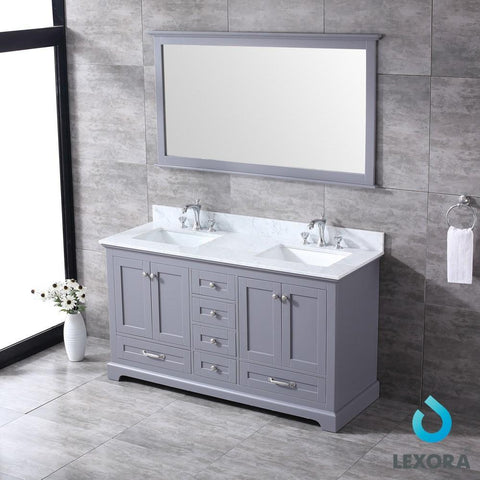 "Dukes 60"" Dark Grey Double Vanity Carrara Marble Top Sinks & 58"" Wall Mirror LD342260DBDSM58"