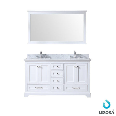 "Dukes 60"" Double Vanity Cabinet Carrara Marble Top Sinks & 58"" Wall Mirror LD342260DADSM58"