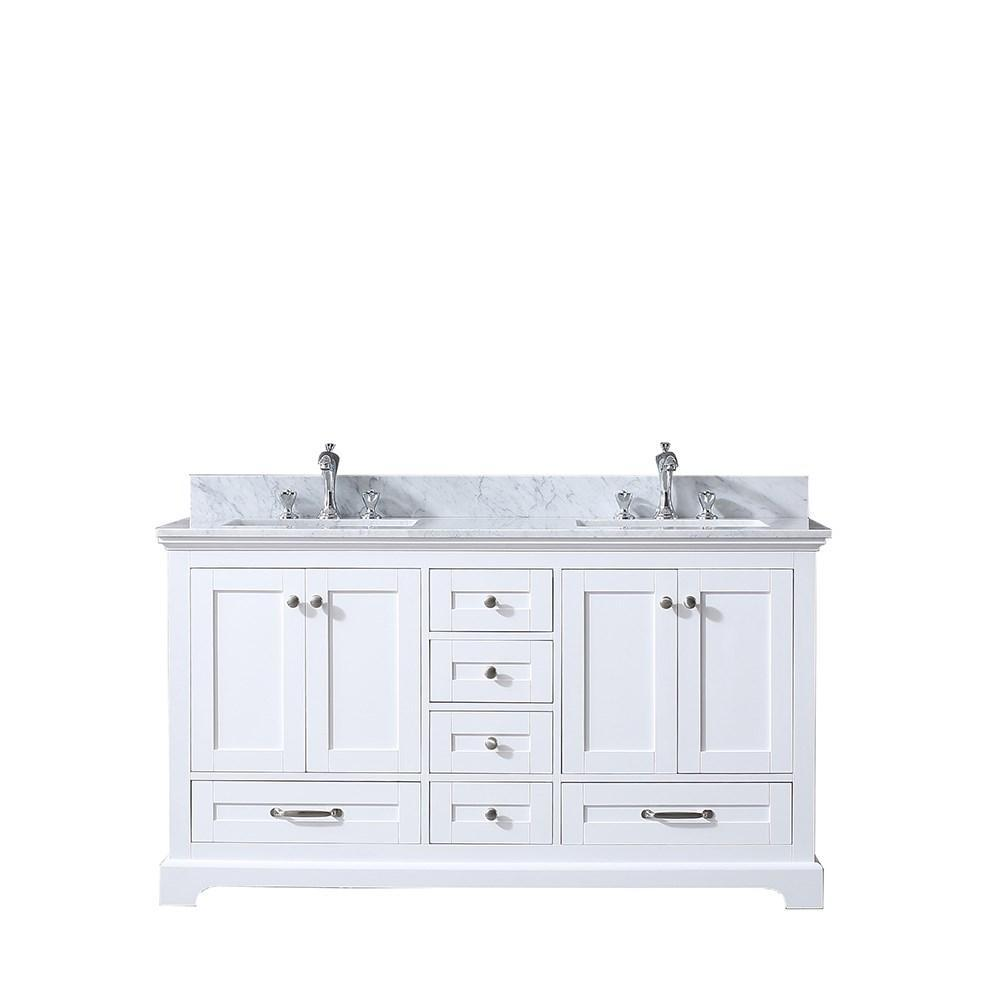 "Dukes 60"" Double Vintage Bathroom Vanity Cabinet Carrara Marble Top Square Sinks LD342260DADS000"