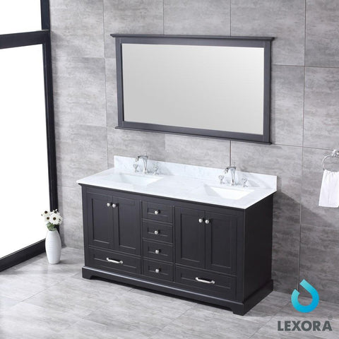 "Dukes 60"" Espresso Double Vanity Carrara Marble Top Sinks & 58"" Wall Mirror LD342260DGDSM58"
