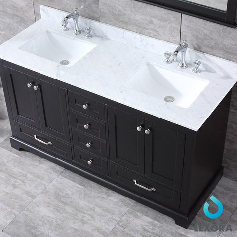 "Image of Dukes 60"" Espresso Double Vanity Carrara Marble Top Sinks & 58"" Wall Mirror LD342260DGDSM58"