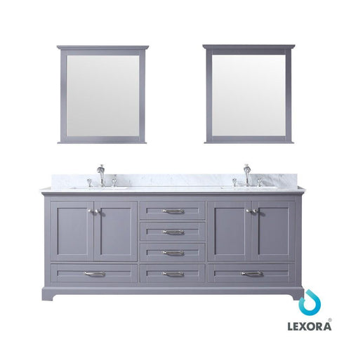 "Image of Dukes 80"" Dark Grey Double Vanity Carrara Marble Top Sinks & 30"" Wall Mirrors LD342280DBDSM30"