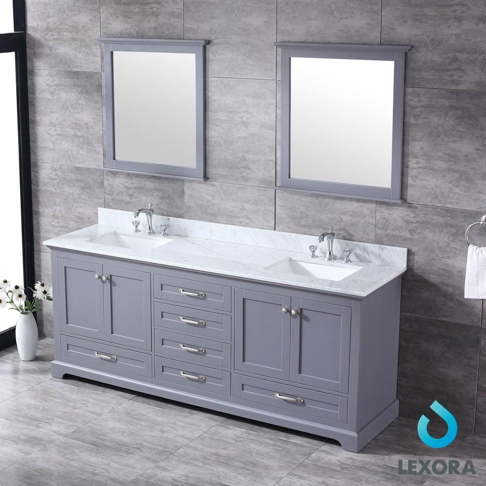 "Dukes 80"" Dark Grey Double Vanity Carrara Marble Top Sinks & 30"" Wall Mirrors LD342280DBDSM30"