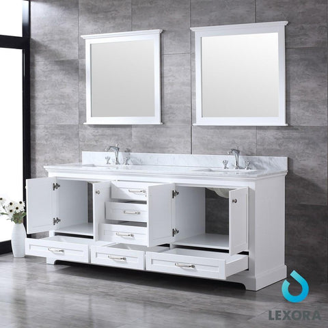 "Dukes 80"" Double Vanity Cabinet Carrara Marble Top Sinks & 30"" Wall Mirrors LD342280DADSM30"
