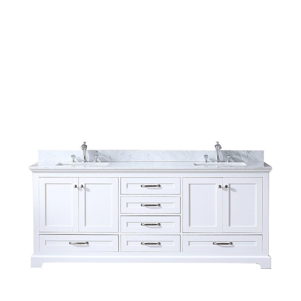 "Dukes 80"" Double Vintage Bathroom Vanity Cabinet Carrara Marble Top Square Sinks LD342280DADS000"