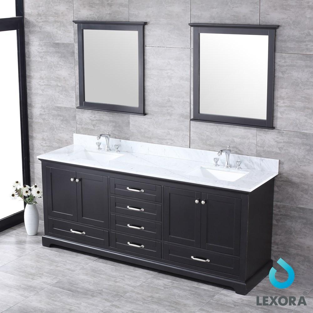 "Dukes 80"" Espresso Double Vanity Carrara Marble Top Sinks & 30"" Wall Mirrors LD342280DGDSM30"